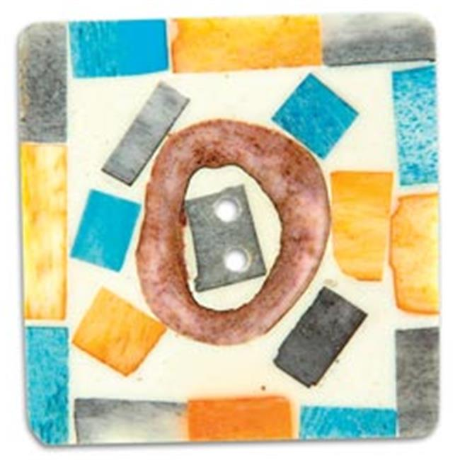 Vision Trims 71628 Handmade Bone Button-2 inch Square Painted