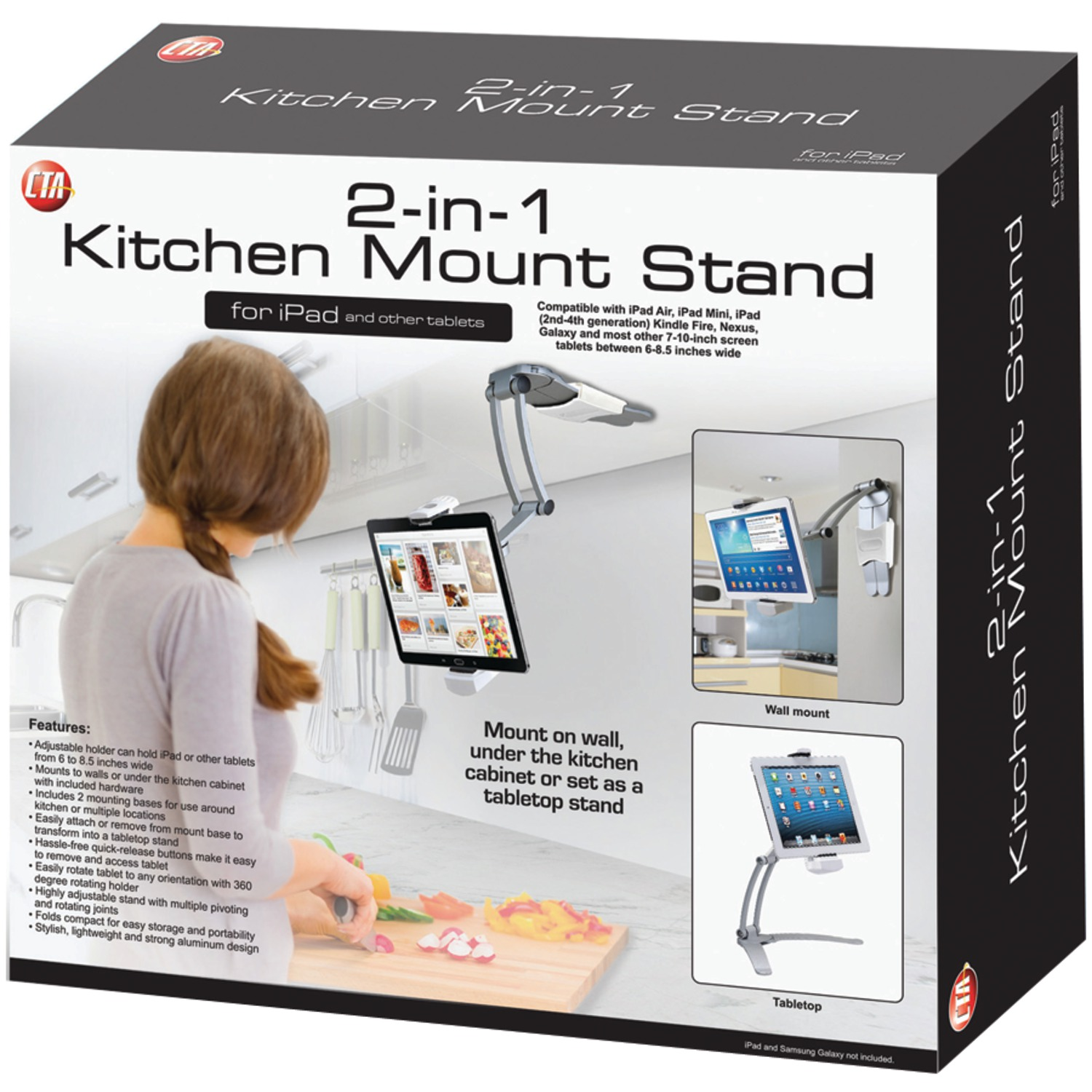 CTA Digital PAD-KMS 2-in-1 Kitchen Mount Stand for iPad/Tablet - Walmart.com  sc 1 st  Walmart & CTA Digital PAD-KMS 2-in-1 Kitchen Mount Stand for iPad/Tablet ...