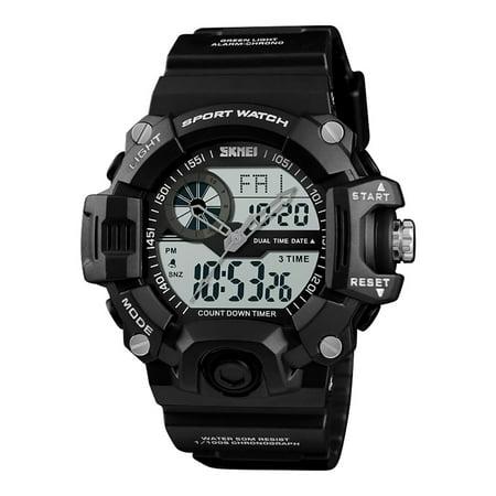 SKMEI 1331 Men Quartz 3 Time Chrono Watches Countdown Dual Time Analog Digital Display Wristwatch 5ATM Waterproof Fashion Casual Backlight Multifunctional Watches