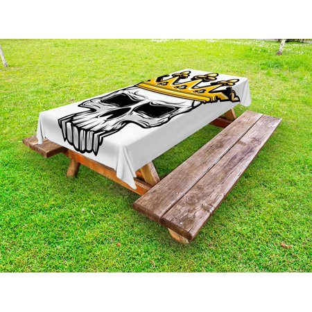 King Outdoor Tablecloth, Hand Drawn Crowned Skull Cranium with Coronet Tiara Halloween Themed Image, Decorative Washable Fabric Picnic Table Cloth, 58 X 84 Inches,Golden and Pale Grey, by Ambesonne - Halloween Palm Springs 2017