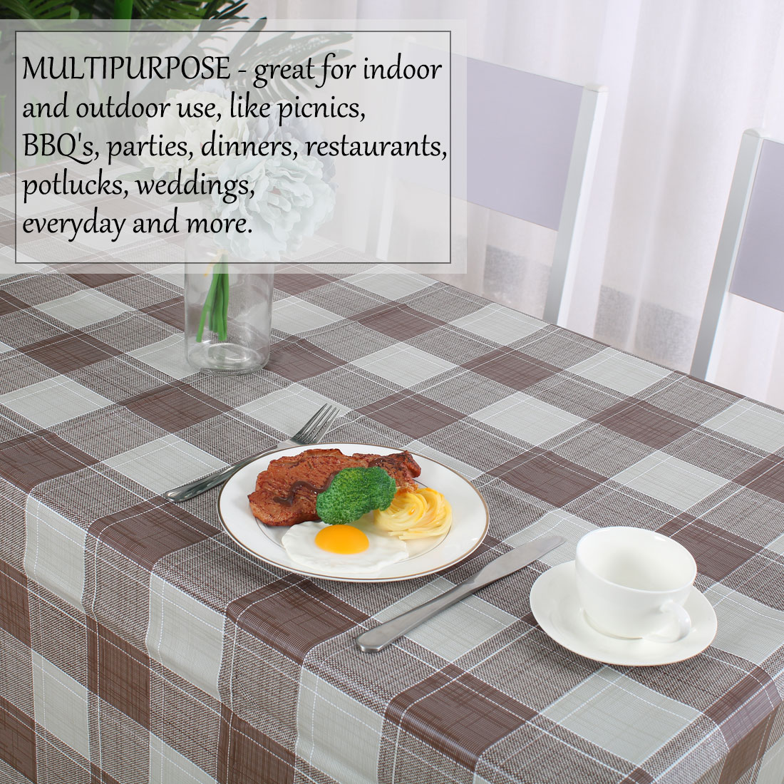 """Tablecloth PVC Rectangle Table Cloth Water Resistant Plaid Pattern 39""""x63"""",#3 - image 5 of 7"""