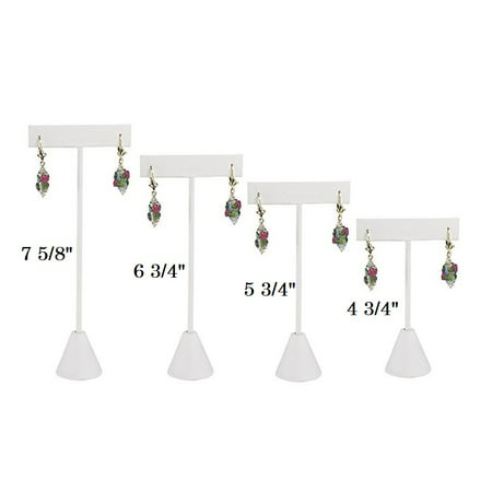 Single Piece White Leatherette Earring T Stand Showcase Display