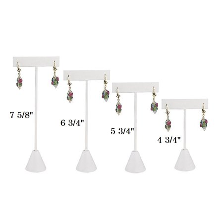 Single Piece White Leatherette Earring T Stand Showcase Display Displays Black Leatherette