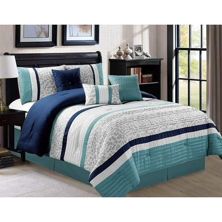 7 Piece Oversize Stripe Comforter Sets Luxury Bed In A Bag Microfiber Set Blue