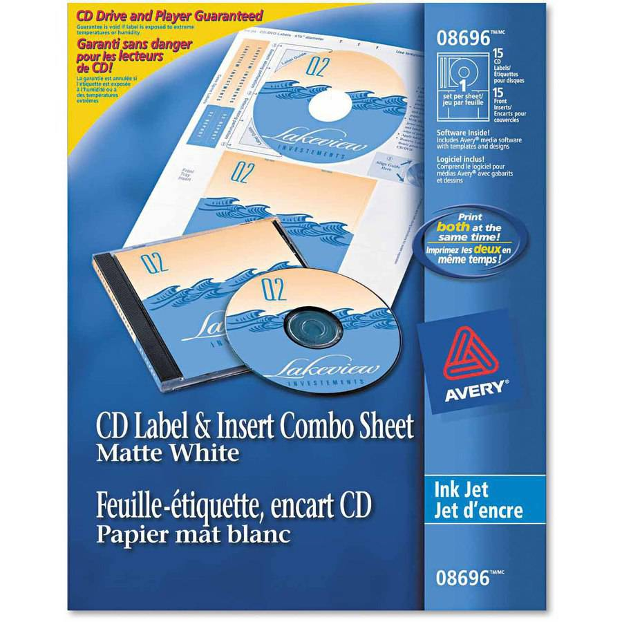 Avery CD/DVD Inkjet Labels/Inserts, Matte White, 20 Labels and 20 Inserts