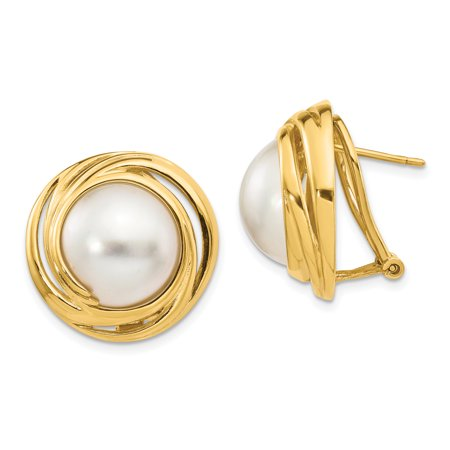 16mm Mabe Pearl (14k Yellow Gold White Akoya Saltwater Mabe Pearl Omega Back Post Stud Ball Button Earrings For Women Gift)