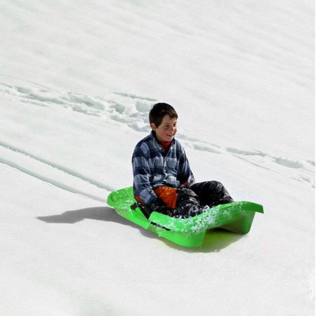 IMAGE Kids Winter Plastic Snow Sled Boat w Integrated Brake Handle-Green