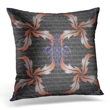 BOSDECO Abstract Distressed Damask in Orange and Violet Colors Antique Pillowcase Pillow Cover Cushion Case 18x18 inch - image 1 de 1