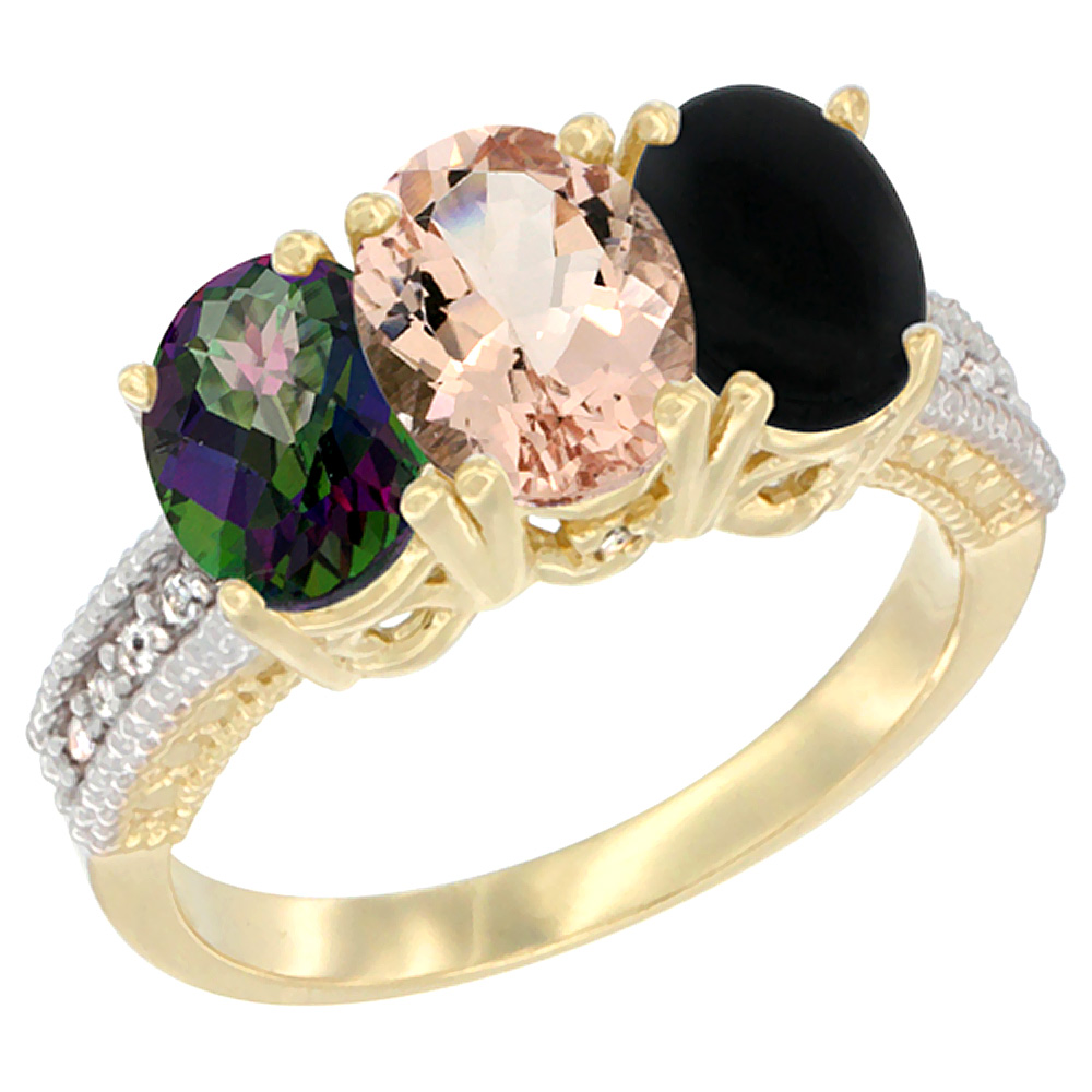 10K Yellow Gold Diamond Natural Mystic Topaz, Morganite & Black Onyx Ring 3-Stone 7x5 mm Oval, sizes 5 10 by WorldJewels