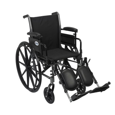 Drive Medical Cruiser III Light Weight Wheelchair with Flip Back Removable Arms, Adjustable Height Desk Arms, Elevating Leg Rests, 18