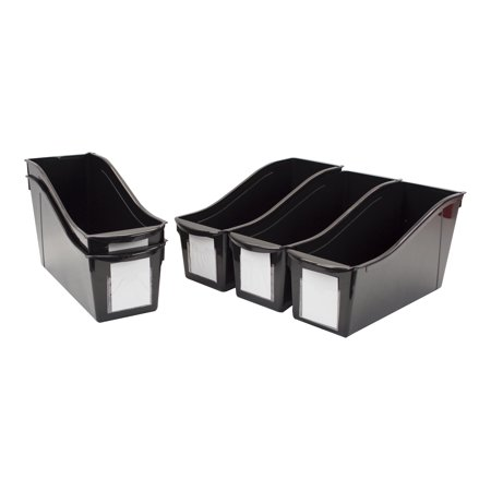 Storex Large Book Bins, Set of 5, Black