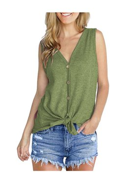 94c23866 Product Image Casual Sexy Vest For Women Solid V-neck Buttons Twist Knot  Sleeveless Cardigan Plus Size