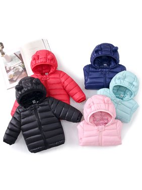 Baby / Toddler Stylish 3D Ear Print Solid Hooded Down Coat