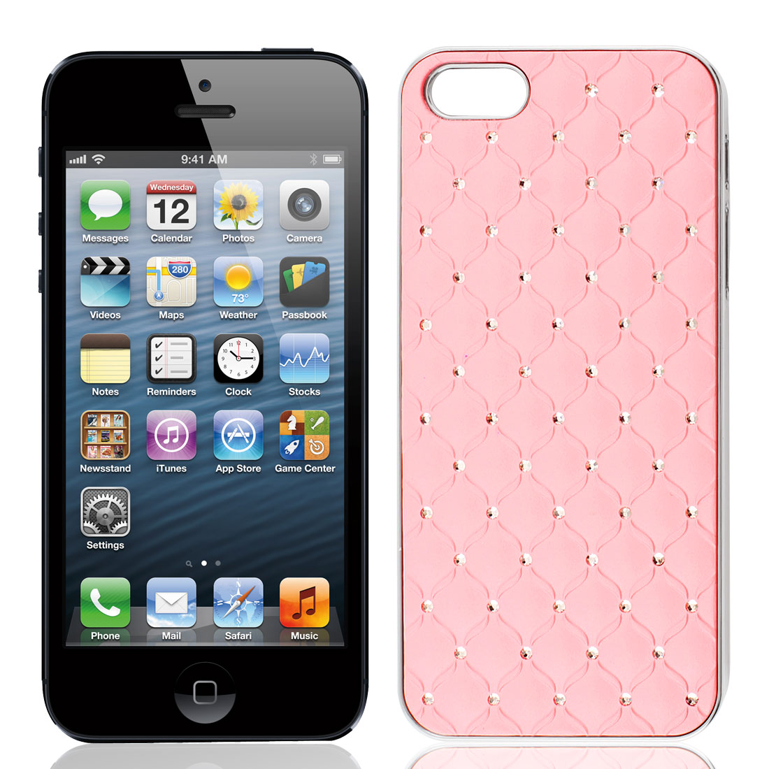Sparkle Bling Rhinestone Grid Hard Back Case Cover Pink for iPhone 5 5G - image 1 of 1