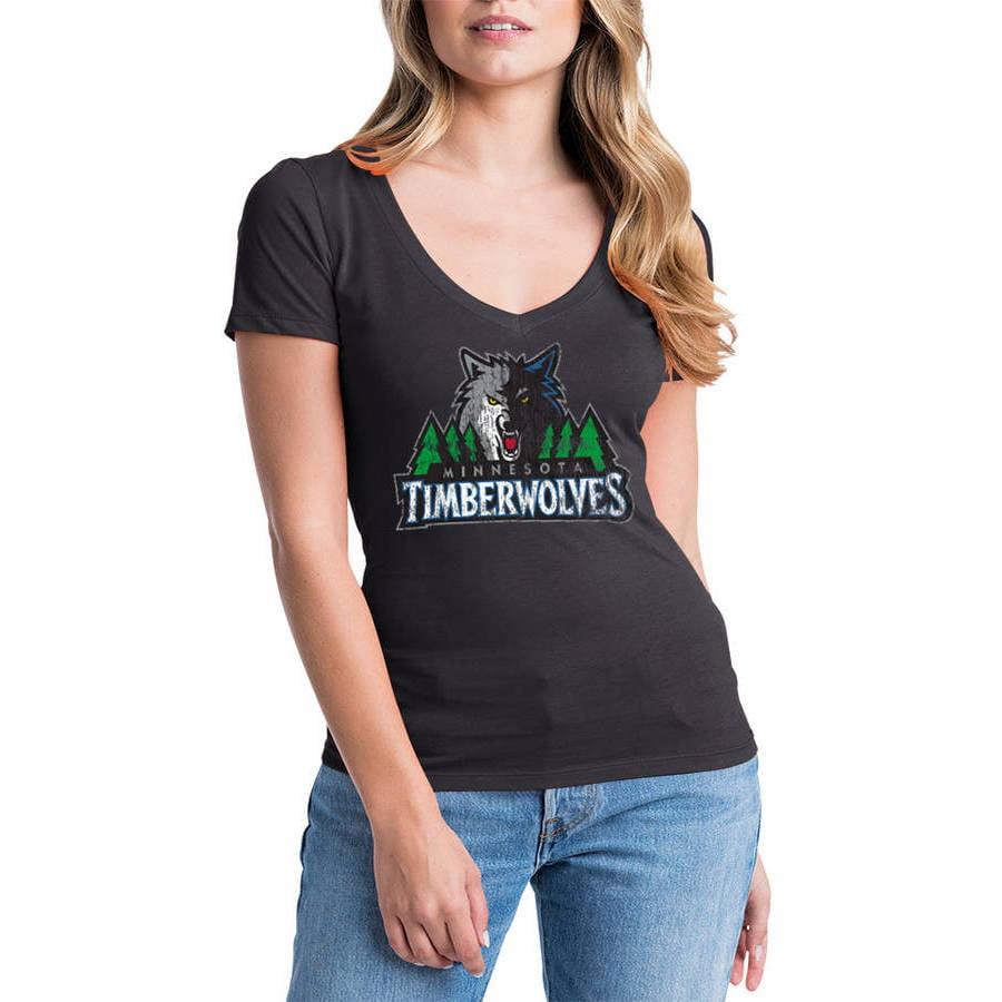 NBA Minnesota Timberwolves Women's Short Sleeve V Neck Graphic Tee
