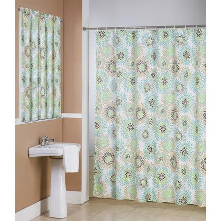 Robin 14 Piece Bathroom Accessories Set Canvas Shower Curtain Hooks Window