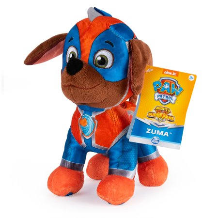 PAW Patrol, 8-Inch Mighty Pups Super PAWs Zuma Plush, for Kids Aged 3 and Up