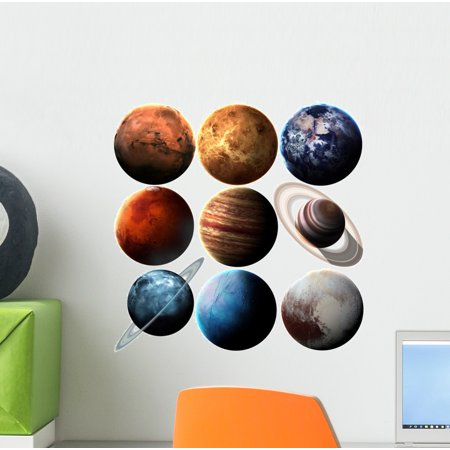 Solar System Stickers (Hight Quality Solar System Wall Mural Decal Sticker, Wallmonkeys Peel & Stick Vinyl Graphic (12 in W x 12 in)