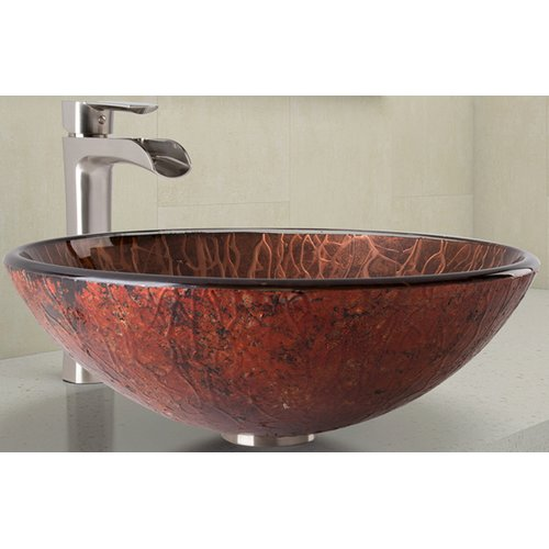 Vigo Mahogany Moon Glass Vessel Bathroom Sink and Niko Faucet Set in Brushed Nickel Finish