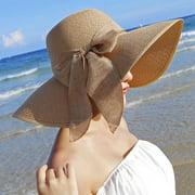 Women Summer Wide Brim Straw Hat Floppy Roll up Cap Beach Sun Hat