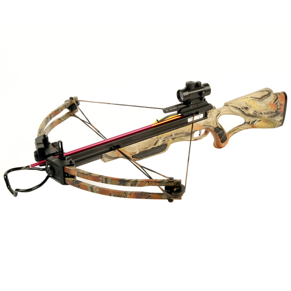 175 lb Black / Camouflage Hunting Compound Crossbow Archery Bow +Red Dot Scope +4 Arrow +Quiver +Cocking Rope & etc 150