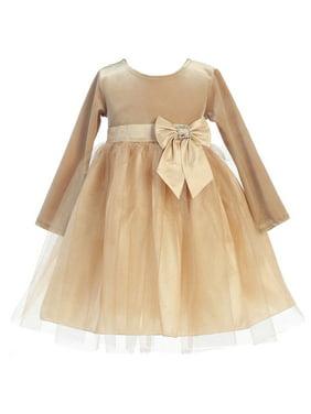 9301e61976 Product Image Baby Girls Gold Velvet Bow Accent Glitter Tulle Occasion Dress  6-24M. Sophias Style