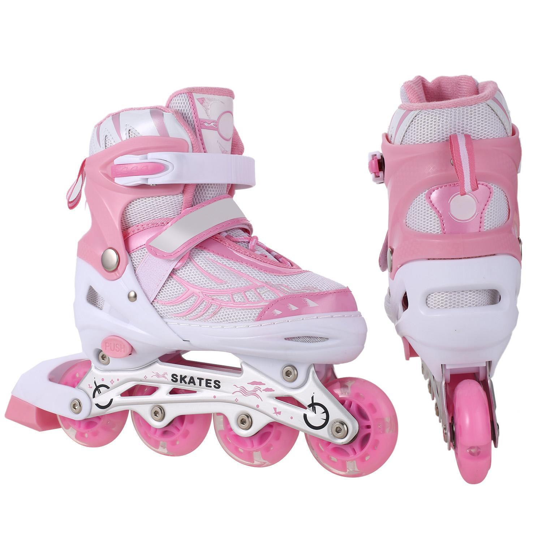 Adjustable Light-Up Inline Skates with Rollerblades Flashing Wheel - Pink, Blue- Sizes S/M/L