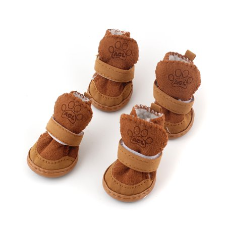 Brown Dog Shoe (Warm Winter Pet Dog Boots Puppy Shoes For Small Dog)