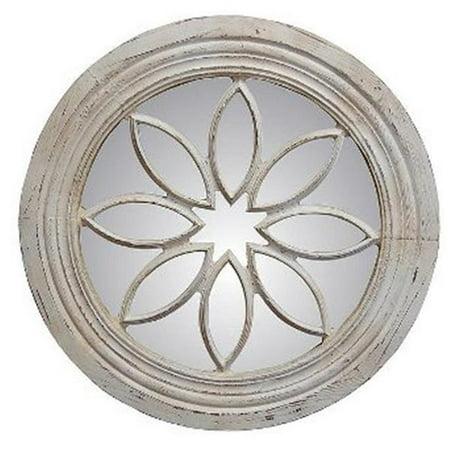 Petal Circle Old World White Decorative Mirror