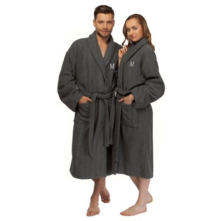 b7e11d8c3b Authentic Hotel and Spa - Authentic Hotel and Spa Turkish Cotton Charcoal  Monogrammed Unisex Bath Robe - Walmart.com
