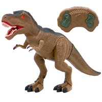 Best Choice Products 21in Kids Remote Control T-Rex Walking Dinosaur Play Toy Tyrannosaurus w/ Lights, Sounds - Brown