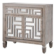 Two Door, One Drawer Wooden Cabinet with Mirror Design - Grey with Whitewash