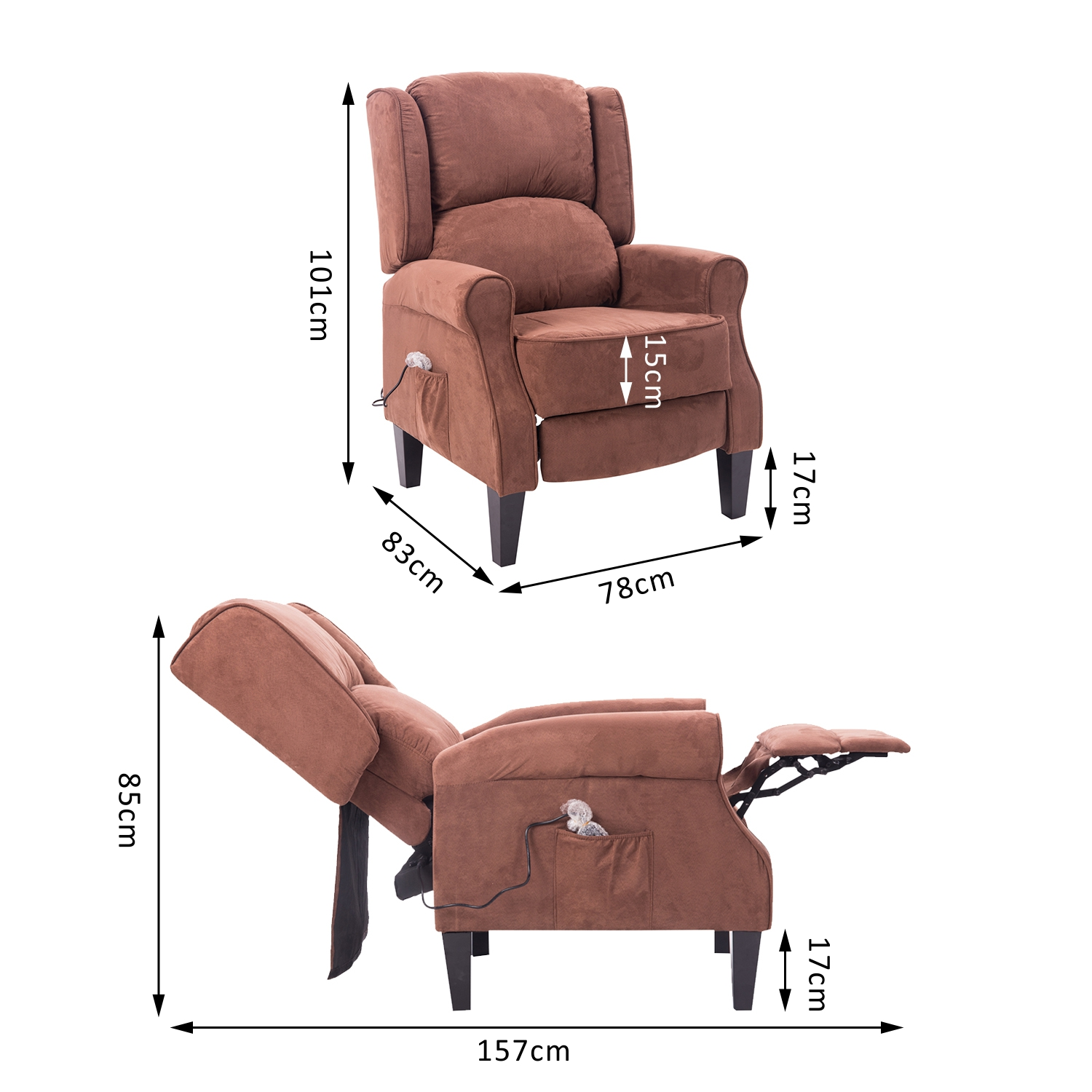 Hom Heated Vibrating Suede Massage Recliner Chair Brown