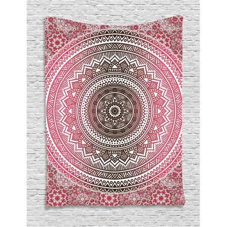 Pink and White Tapestry, Bohemian Ombre Mandala Vintage Pattern ...