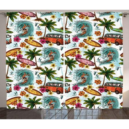 Ocean Decor Curtains 2 Panels Set, Hawaiian Decor Surfer on Wavy Deep Sea Retro Palms Flowers Surfing Boards Print, Window Drapes for Living Room Bedroom, 108W X 90L Inches, Multicolor, by Ambesonne (Retro Hawaiian Decor)