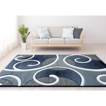United Weavers Drachma Salona Contemporary Navy Woven Olefin/Polypropylene Area Rug or Runner