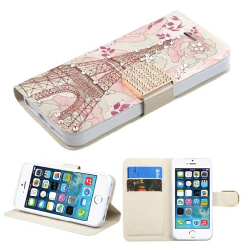 iPhone SE Case Wallet by Insten Eiffel Tower Wallet Leather Case with card slot For iPhone 5/5C/5S/SE - Pink