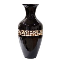 """25"""" Spun Bamboo Floor Vase - Bamboo In Black Lacquer W/ Brown Coconut Shell"""
