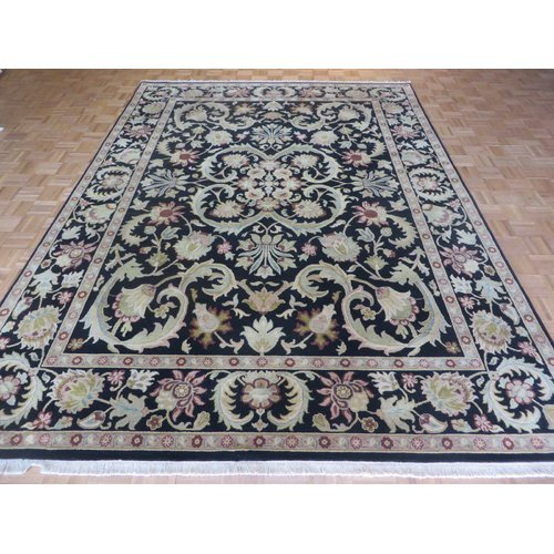 Astoria Grand One-of-a-Kind Railey Hand-Knotted Wool Black Area Rug
