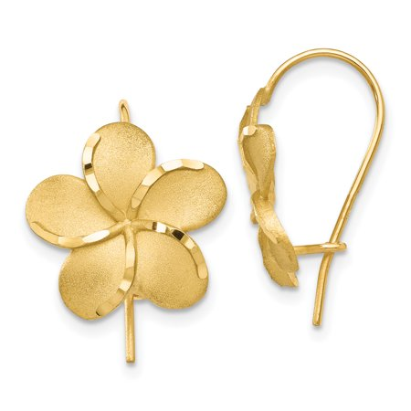 14kt Yellow Gold Plumeria French Wire Earrings Drop Dangle Flower Gardening Fine Jewelry Ideal Gifts For Women Gift Set From Heart