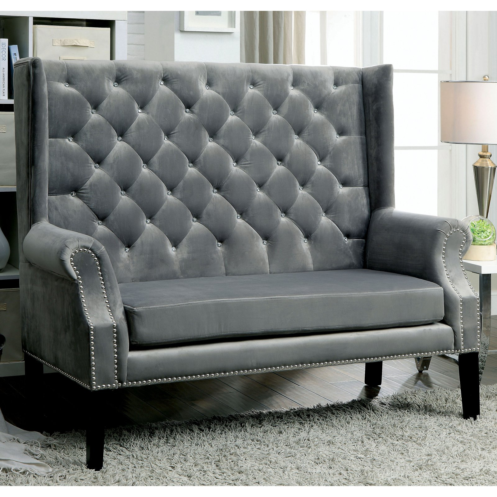 Furniture Of America Alero Contemporary Style Tufted Settee Bench