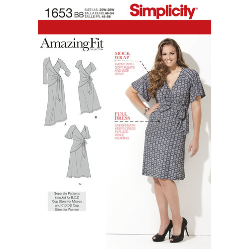 Simplicity Misses' Plus Size 20W-28W Amazing Fit Knit Dress Pattern, 1 Each