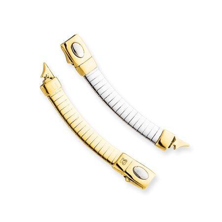14K Yellow and White Gold 3mm Lightweight Omega Extender for Necklace