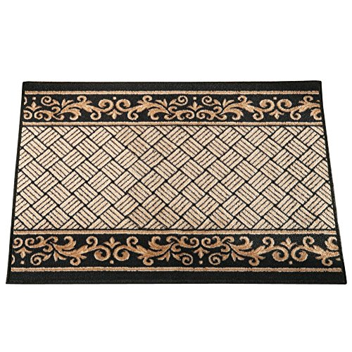 "Collections Etc Floral Scroll Basket Weave Rug, 24"" X 36"", Midnight"