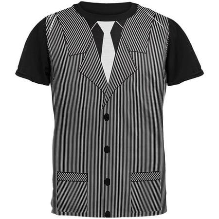 Halloween 20's Gangster Costume All Over Mens Black Back T Shirt