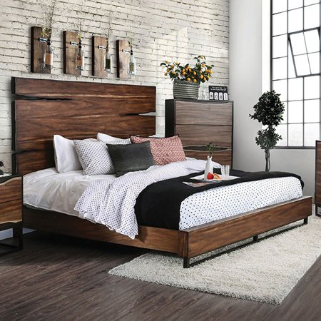 Contemporary Dark Walnut Finish Bedroom Furniture 1pc Queen Size Bed