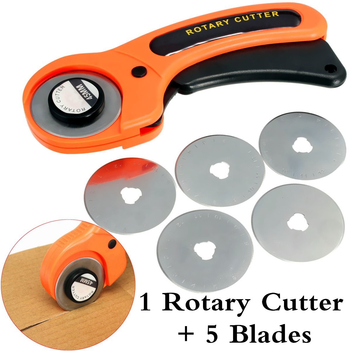 45mm Rotary Cutter Blade Sewing Quilting Fabric Cutting Craft Patchwork Tool +5 Blades