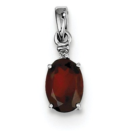 Sterling Silver Rhodium Plated Diamond & Garnet Oval Pendant. Gem Wt- 0.75ct