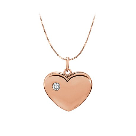 Cz heart pendant in 14k rose gold vermeil free chain mozeypictures Image collections