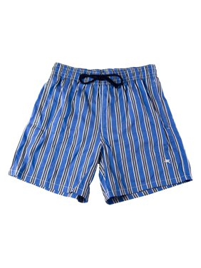 PAL ZILERI Men's Striped Swim Trunks Sz IT 48 Blue/Black/White